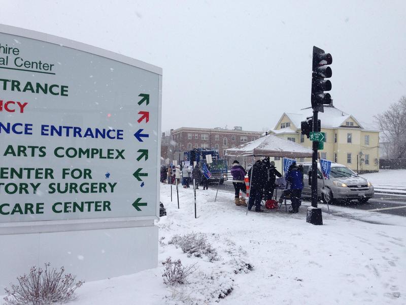 Nurses at Berkshire Medical Center rally at the Pittsfield, MA hospital in December 2014.