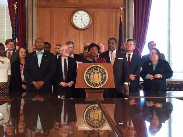 Senate Democratic Leader Andrea Stewart-Cousins and other Senate Democrats at a press conference to advocate for a single payer health care system for New York.