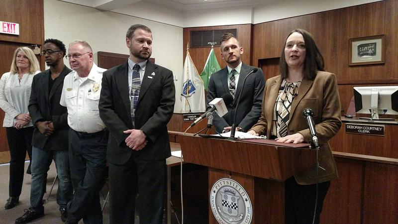 Pittsfield Mayor Linda Tyer defends hiring practices during a press conference at city hall.