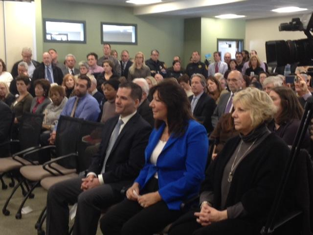 Dutchess County Executive Marc Molinaro (seated left); NYS Senator Sue Serino (middle); Assemblymember Didi Barrett (right)