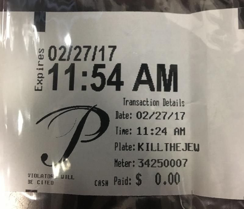 Antisemitic words on a parking receipt