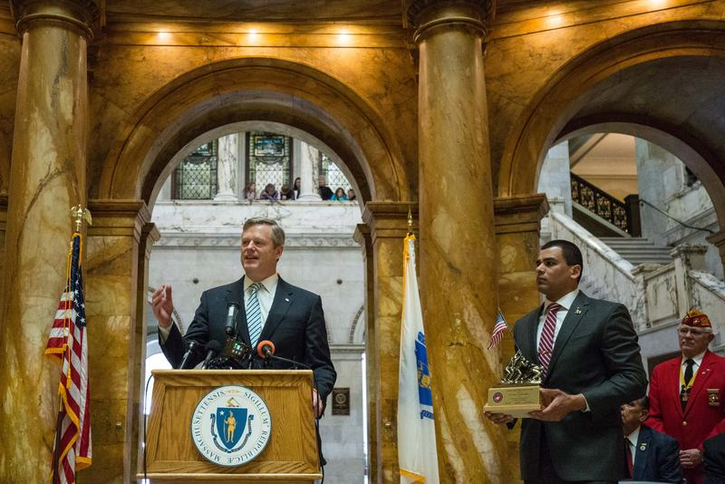 Massachusetts Governor Charlie Baker speaks at a state house ceremony to honor Iwo Jima veterans.