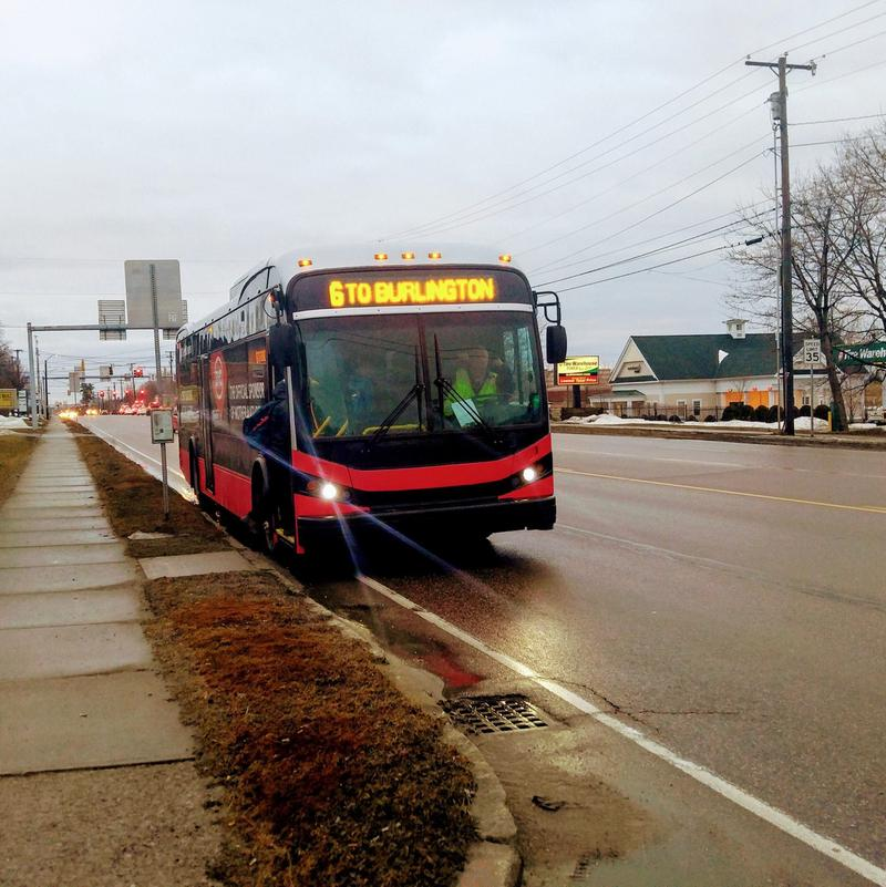 Electric bus on Shelburne Road in South Burlington