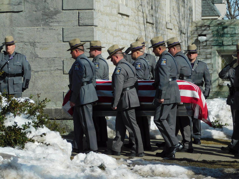 Trooper Brian Falb's casket arrives at St. Peter's Church