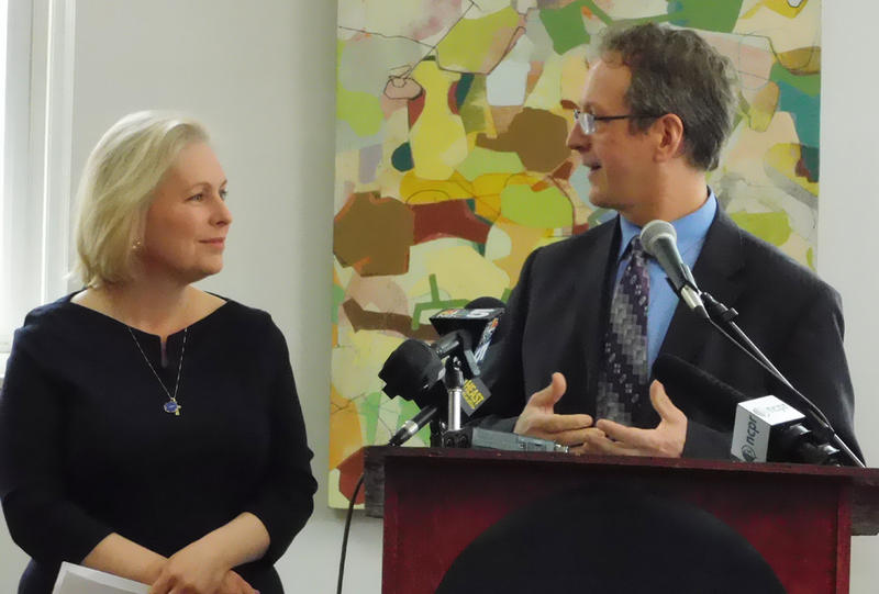 Senator Kirsten Gillibrand and Plattsburgh Mayor Colin Read at the Strand Center for the Arts