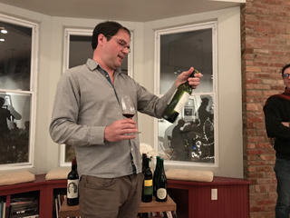 Phil Sareil leading a wine tasting at Hudson Wine Merchants