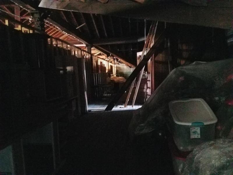 Dark hallway of the attic of Roth Hall