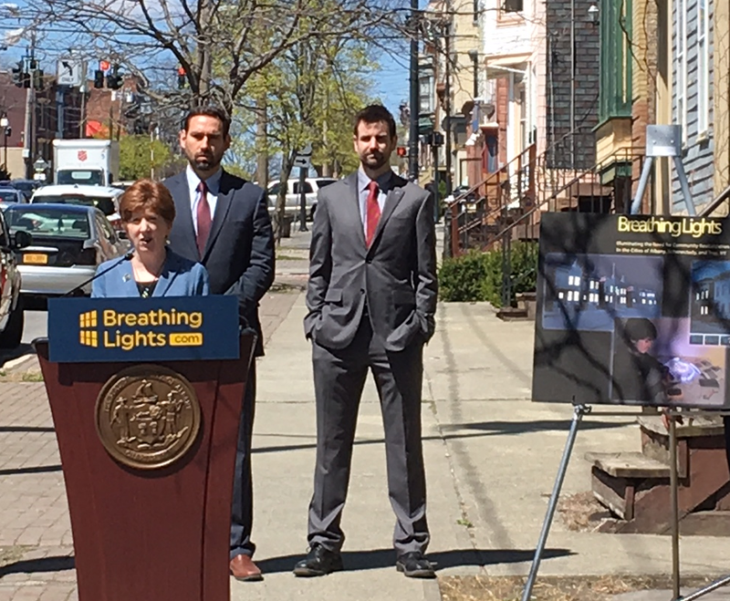 Albany Mayor Kathy Sheehan appeared outside two buildings being rehabbed along Clinton Avenue's 300 block Tuesday afternoon, to kick off a $1 million vacant building initiative.