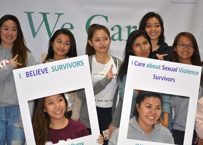 "The University at Albany marked #SexualAssaultAwarenessMonth by hosting its third annual ""We Care"" event at SEFCU Arena."