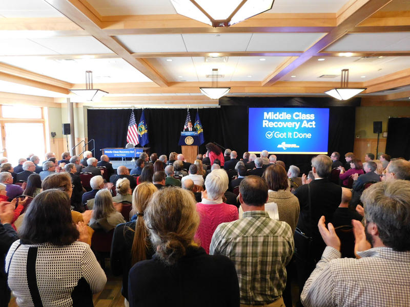 Standing room only crowd hears about state budget from Governor Andrew Cuomo