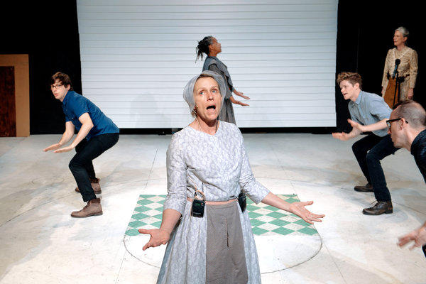 "Frances McDormand, center, in the Wooster Group's ""Early Shaker Spirituals,"" which is a short but resonant work that finds richness in austerity."