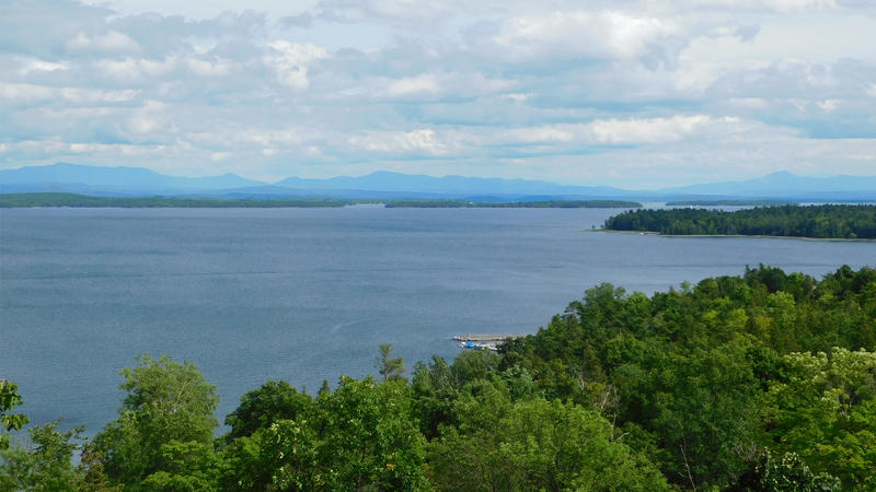 View of Lake Champlain from Plattsburgh southeast towards Vermont