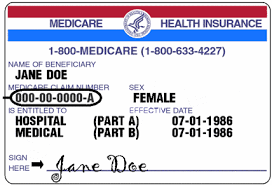 A generic Medicare insurance card