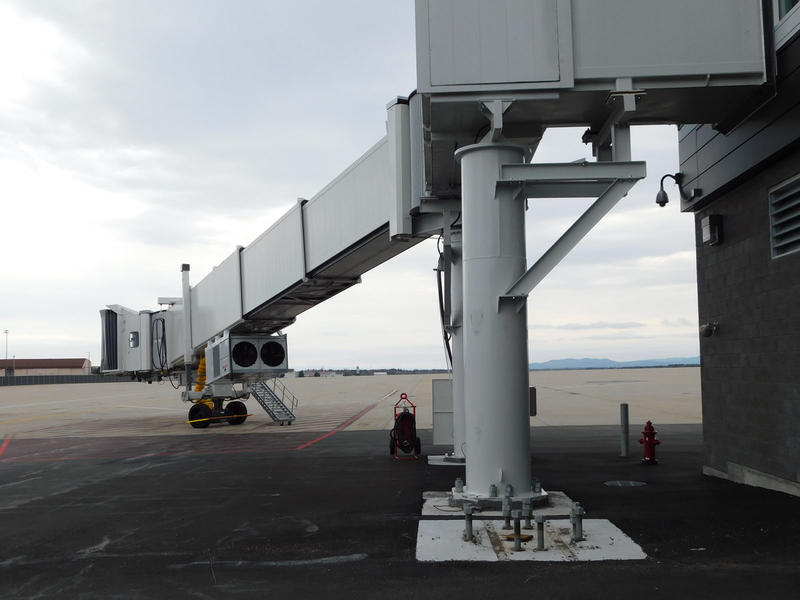One of the new jet bridges at Plattsburgh International Airport