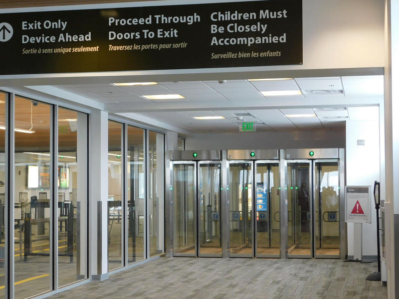 Concourse security exit at Plattsburgh International Airport