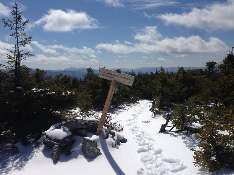 The trail marker near the summit of Bald Mountain
