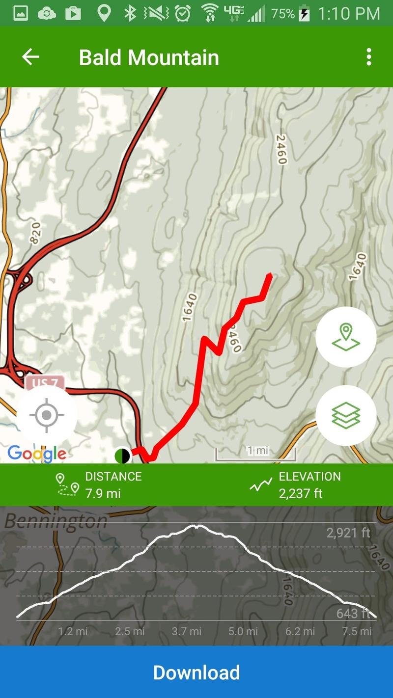 The map of Bald Mountain from the All Trails app.