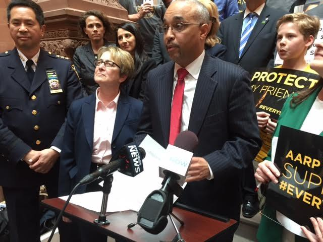 Senator Jose Peralta speaking in Albany on Monday, (at a press conference to increase speed cameras near schools)