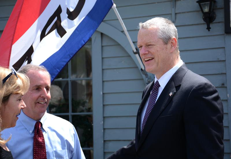 Gov. Charlie Baker tours West Stockbridge alongside state representatives.