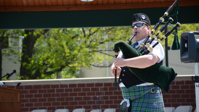 A member of the Berkshire Highlanders playing for the Pittsfield Police Department and Berkshire County Sheriff's Department Color Guard.