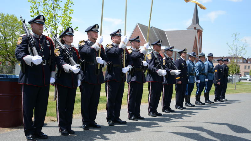 The Pittsfield Police Department Color Guard stand at attention.