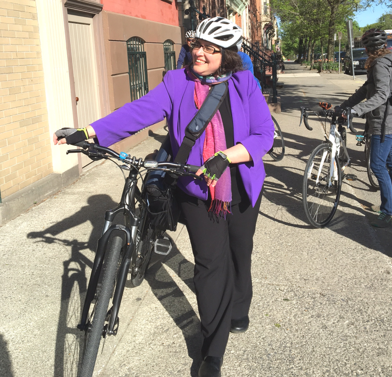 Where there's a bicycle there's Common Council member Leah Golby.