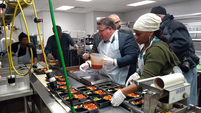 Albany County Executive Dan McCoy visited Albany's Meals on Wheels kitchen in March.