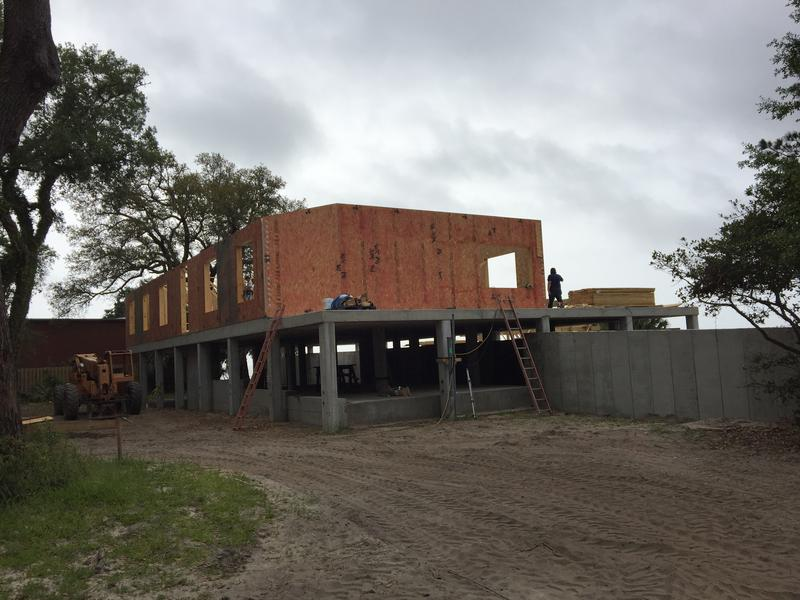 The smart home construction site on Pensacola Bay