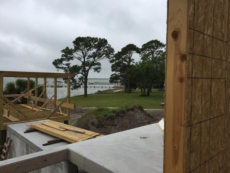 Looking out towards the future outdoor cabana and pool area