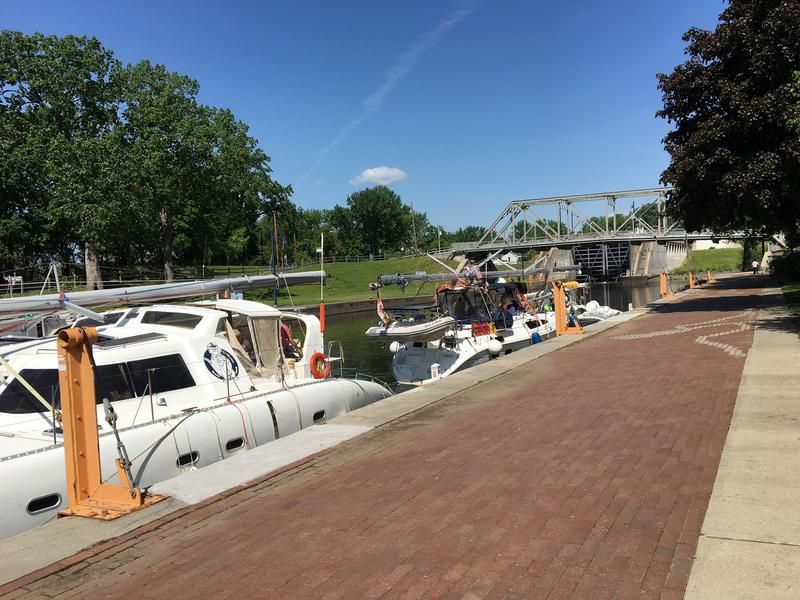 Pleasure craft lined up for the annual opening of the locks at Waterford