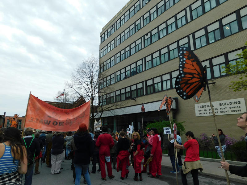 May Day protesters gather at federal building in Burlington