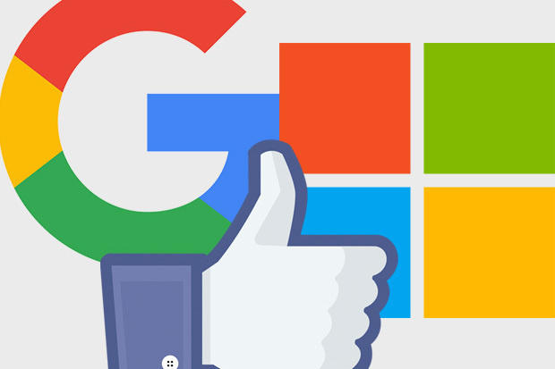 Google, Facebook, Microsoft icons