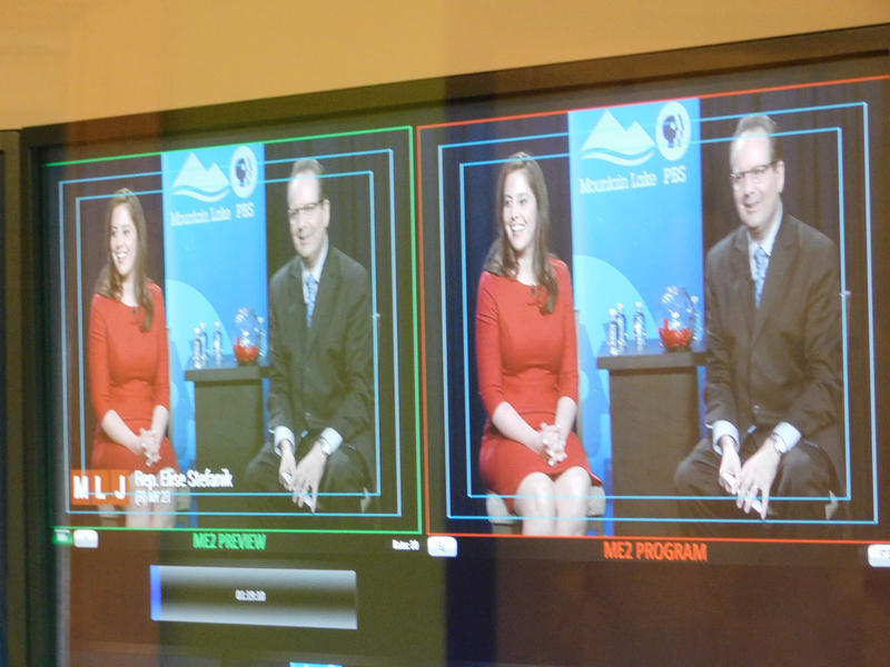 Congresswoman Elise Stefanik tapes a forum with Mountain Lake PBS host Thom Hallock
