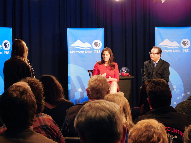 Republican Elise Stefanik takes a question during a forum at Mountain Lake PBS