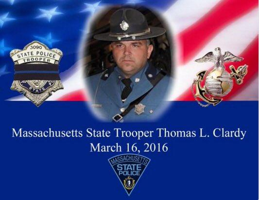 Mass. State Trooper Thomas Clardy died when his cruiser was struck by another car on the Massachusetts Turnpike in Charlton.