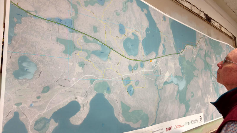 A series of panoramic maps of the proposed rail trail was displayed during the meeting