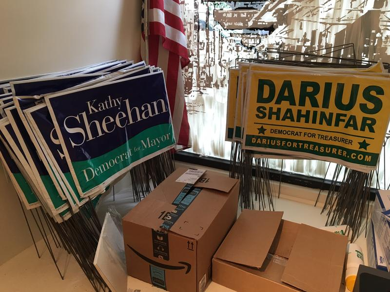 Lawn signs ready to go out at Sheehan Campaign HQ
