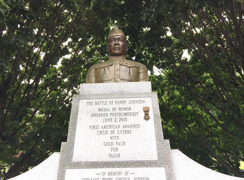 A replica of Johnson's medal has been permanently affixed to the Henry Johnson Statue on Washington Park Road in Washington Park, near the corner of Madison Avenue and Willett Street.