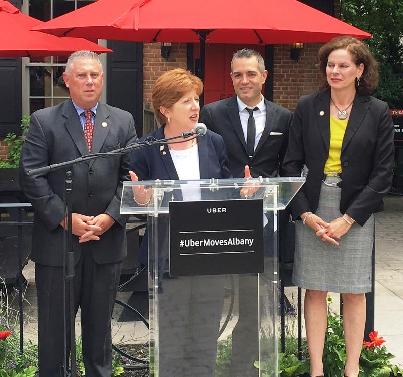 Assemblyman John McDonald, Albany Mayor Kathy Sheehan, businessman Vic Christopher and Assemblywoman Pat Fahy at Quackenbush Square for the Uber launch.
