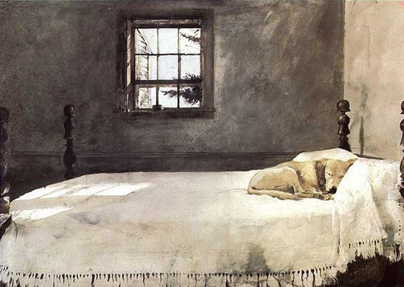 Andrew Wyeth - MASTER BEDROOM, 1965 watercolor. Collection of Victoria Browning Wyeth © 2017 Andrew Wyeth / Artists Rights Society (ARS), NY