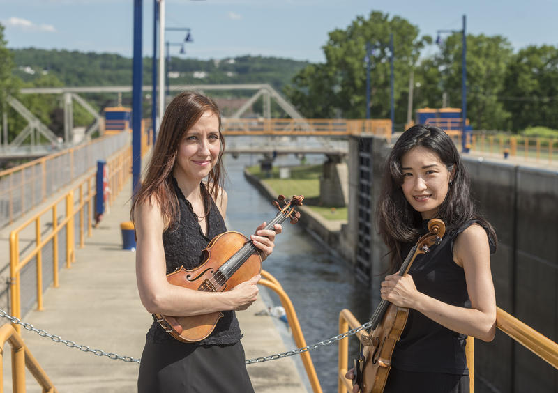 Albany Symphony Orchestra musicians Jamecyn Morey and Mitsuko Suzuki at Lock E-2 in Waterford, NY