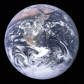 Photograph of the Earth taken on December 7, 1972, by the crew of the Apollo 17