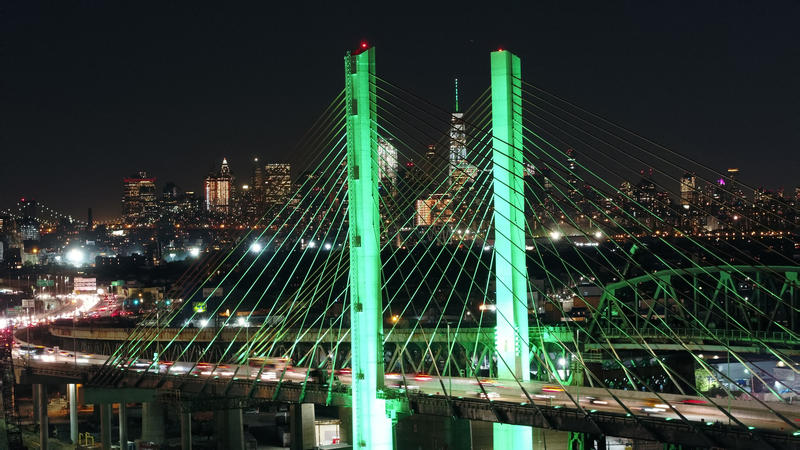 Governor Andrew M. Cuomo directed One World Trade Center and the Kosciuszko Bridge to be lit green in support of the Paris Accord.
