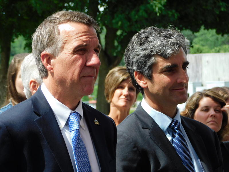 Governor Phil Scott (left) and Burlington Mayor Miro Weinberger launch the Vermont Climate Pledge Coalition
