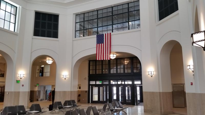 The front doors to Union Station as seen from the concourse