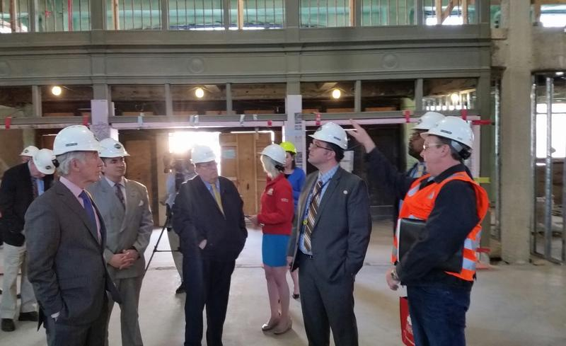 U.S. Rep. Richard Neal ( D-MA) along with Springfield City Officials and represenatives from Amtrak check on the construction progress in 2016