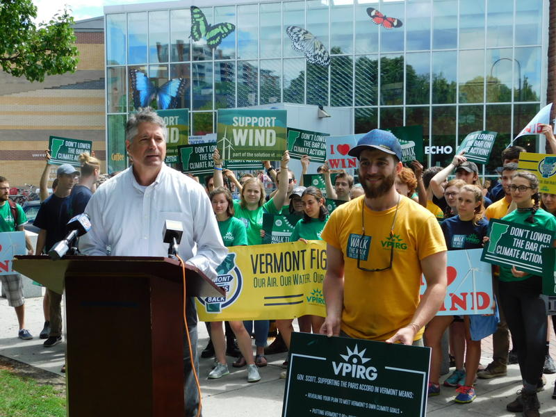 Vermont Public Interest Research Group led by Paul Burns (at podium) calls for climate action