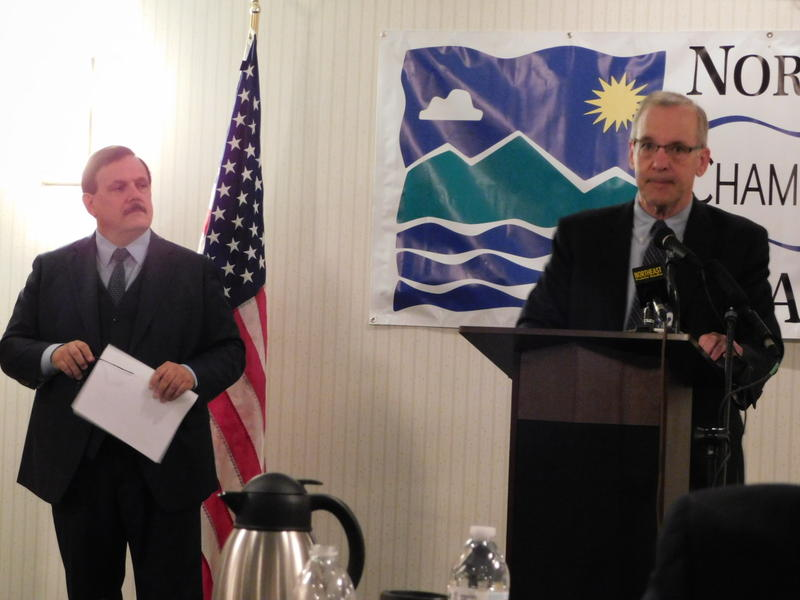 Federal Reserve Bank of NY President William Dudley (right) with Plattsburgh North Country Chamber President Garry Douglas (left)
