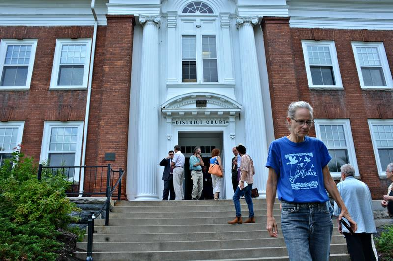 Sugar Shack Alliance members reorganize outside of Southern Berkshire District Court.