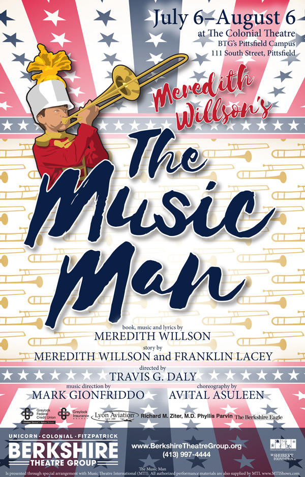Poster for Meredith Wilson's The Music Man at BTG